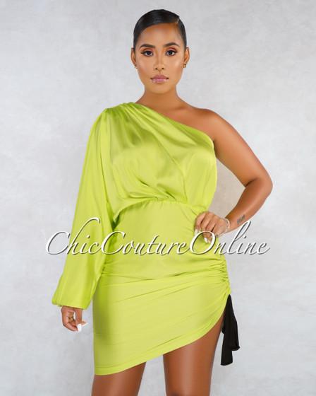 Sirine Lime Green Black Tie Ruched Side Single Shoulder Dress
