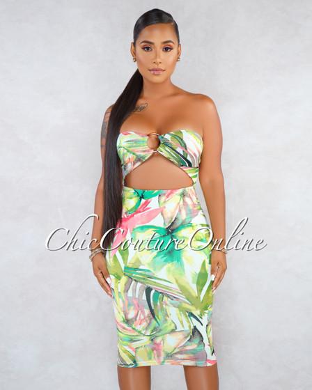 Vixon Off-White Leaf Print Cut-Out Brown O-Ring Midi Dress