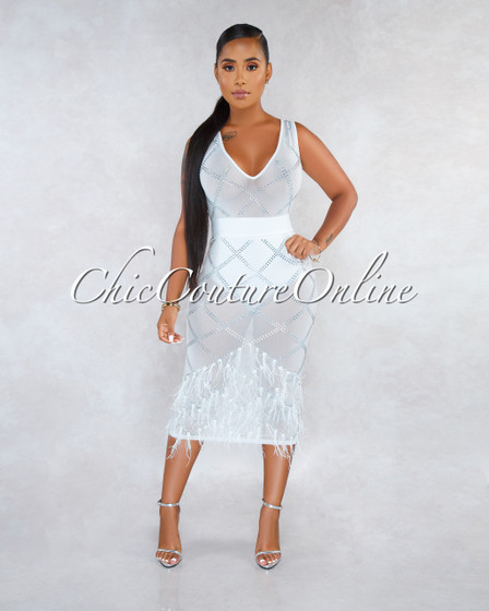 Saide Off-White Mesh Rhinestones Feather Pearls Hem Midi Dress