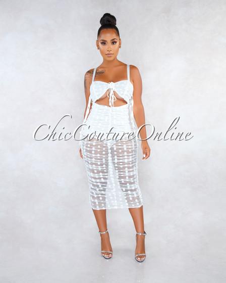 Cormac Off-White Mesh Polka Dots Bodysuit Midi Dress