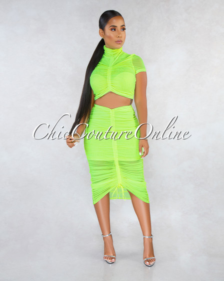 Shikka Neon Lime Mesh Ruched Midi Skirt Two Piece Set