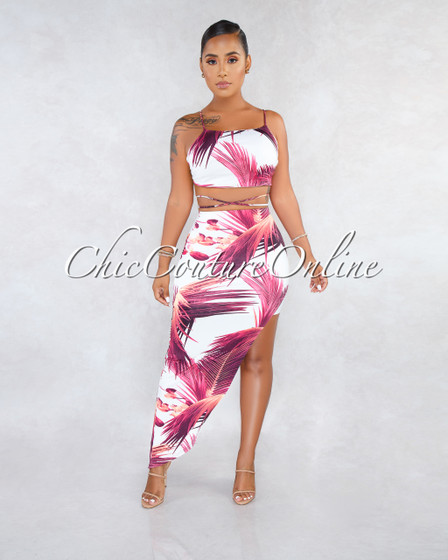 Stephanelle White Fuchsia Leaf Print Uneven Skirt Two Piece Set