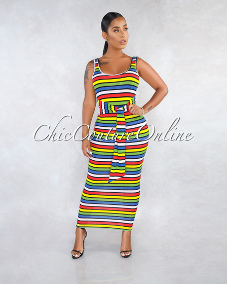 Vibra Green Multi-Color Stripes Self-Tie Belt Midi Dress
