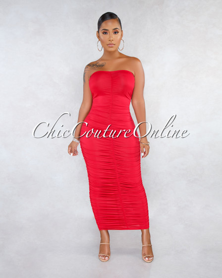 Kast Red Ruched Strapless Maxi Dress