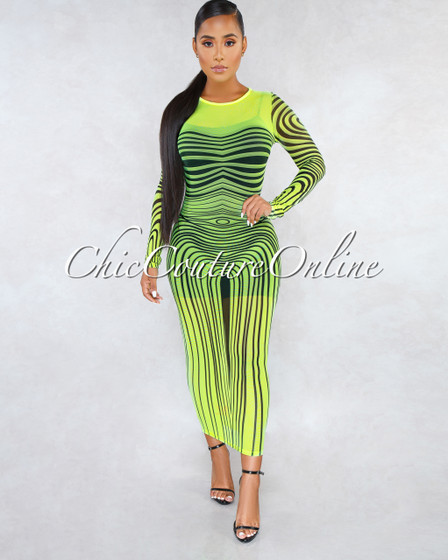 Wisteria Neon Yellow Black Print Mesh Cover-Up Maxi Dress