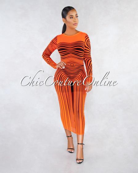 Wisteria Neon Orange Black Print Mesh Cover-Up Maxi Dress