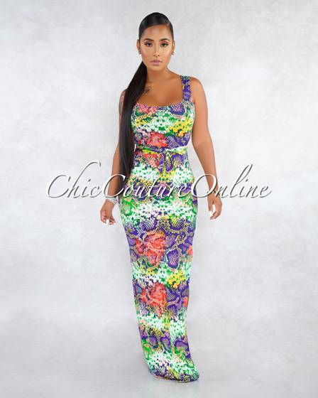 Spring Purple Print Self-Tie Belt Slit Maxi Dress