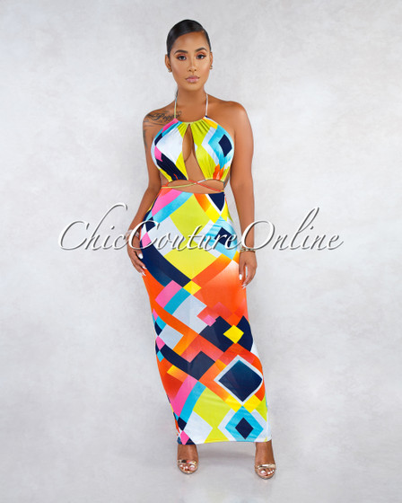 Melany Green Multi-Color Print Cut-Out Strappy Maxi Dress