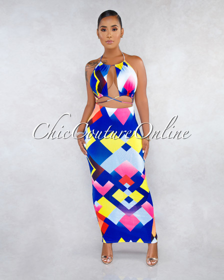 Melany Blue Multi-Color Print Cut-Out Strappy Maxi Dress