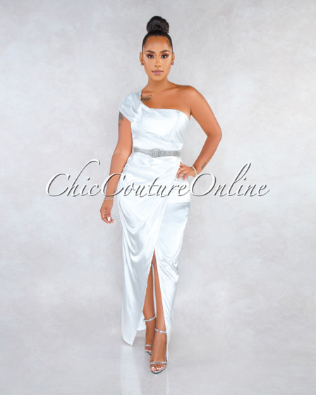Amabella White Single Shoulder Draped Silky Maxi Dress