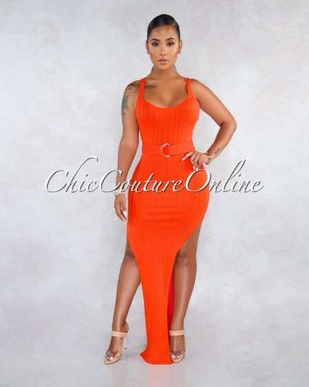Shaye Orange Ribbed Gold Buckle Self-Tie Belt Slit Dress