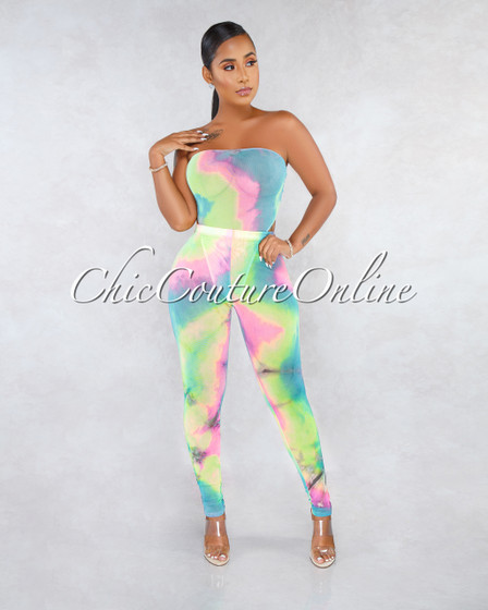 Serafina Soft Bubblegum Rainbow Tye-Die Two Piece Bodysuit Set