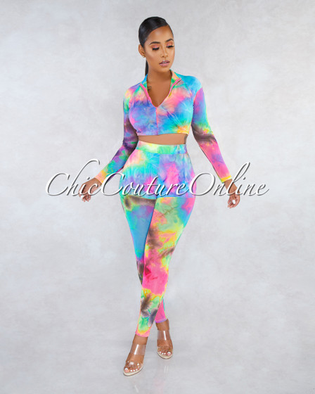 Jenna Pastel Rainbow Tye-Die Print Front Zipper Two Piece Set