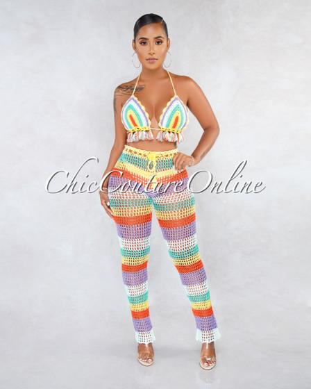 Lidya Pastel Multi-Color Crochet Cover-Up Two Piece Set