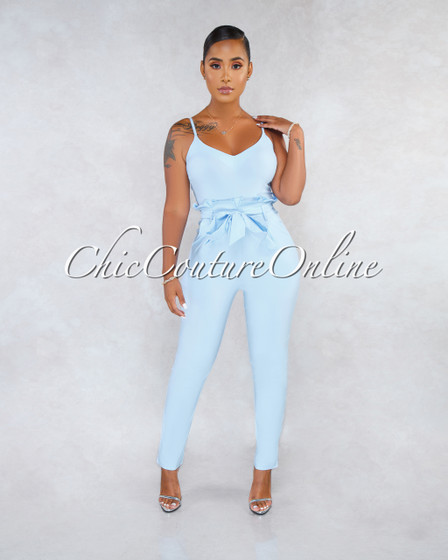 Kay Baby Blue V-Neck Paper Bag Waist Jumpsuit