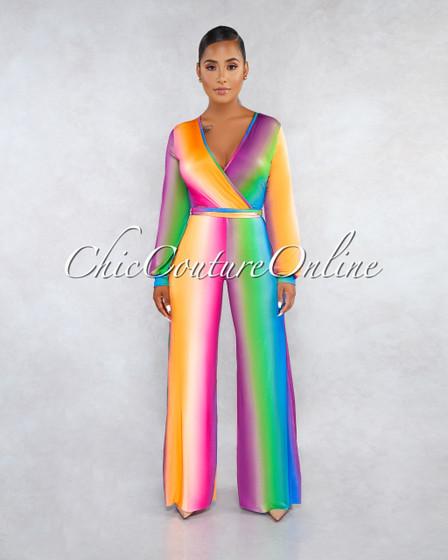 Sheila Ombré Multi-Color Stripes Jumpsuit