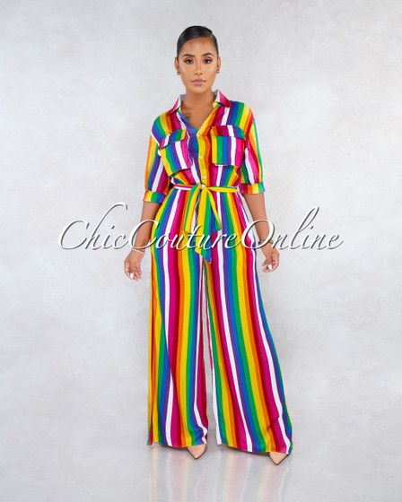 Tamia Rainbow Stripes Shirt Buttons Jumpsuit