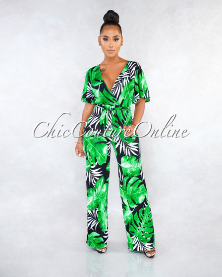 Tabitha Black Green Leaf Print Faux Wrap Jumpsuit