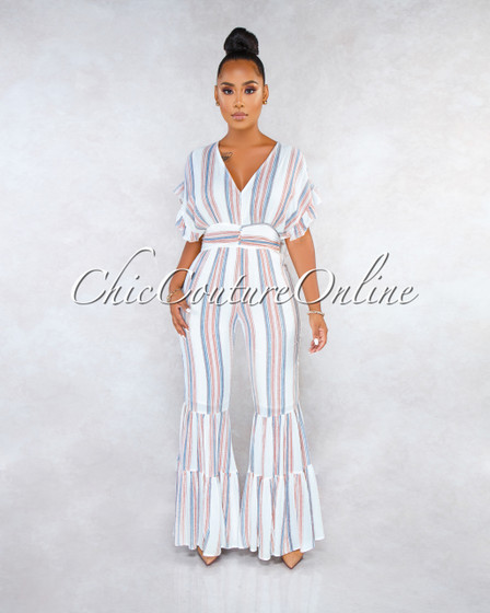 Shula Off-White Orange Stripes Ruffle Bell Hem Jumpsuit