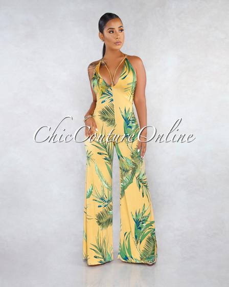 Sassie Mustard Green Leaf Print V-Neck Jumpsuit
