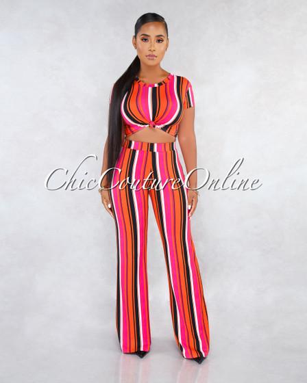 Pargue Fuchsia Multi-Color Stripes Two Piece Pants Set