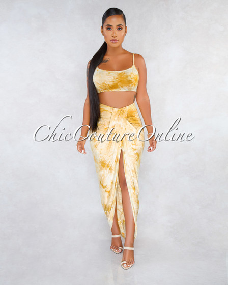 Army Mustard Tie-Dye Draped Uneven Skirt Two Piece Set