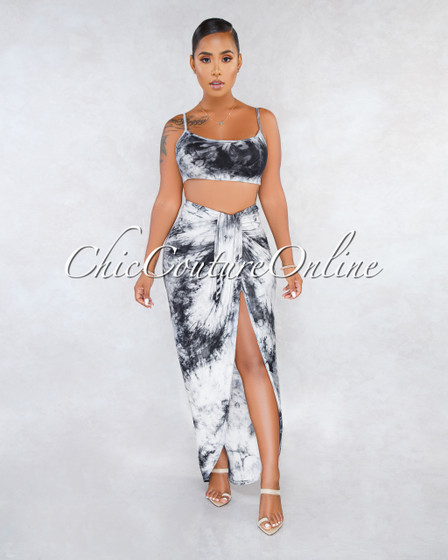 Army Black Tie-Dye Draped Uneven Skirt Two Piece Set