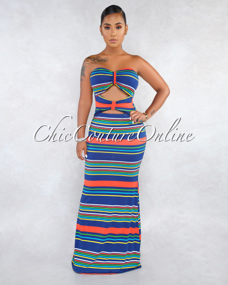 Cameo Blue Multi-Color Stripes Double Bow Top Maxi Dress