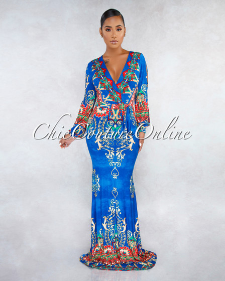 Siona Blue Multi-Color Print Cold Shoulder Maxi Dress