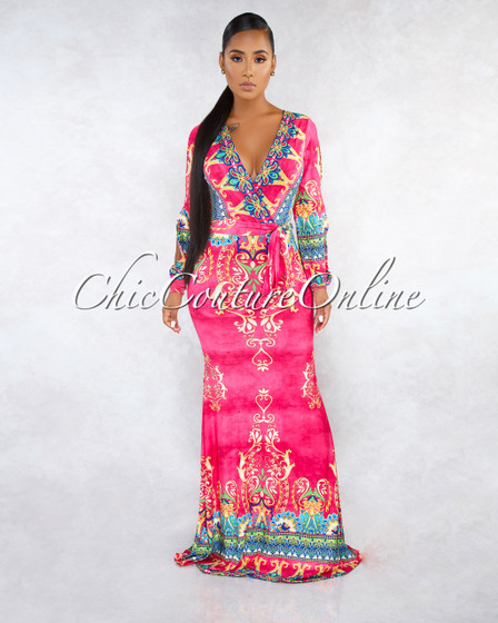 Siona Fuchsia Multi-Color Print Cold Shoulder Maxi Dress