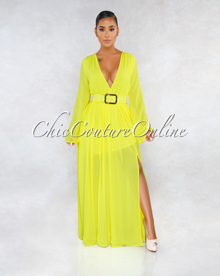 Saskia Yellow V Neck Gold Belt Maxi Dress