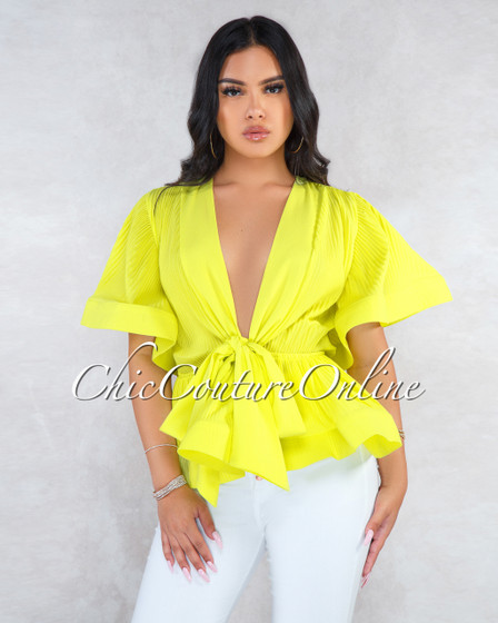 Johnson Lime Yellow Ribbed Sheer V-Neck Peplum Blouse