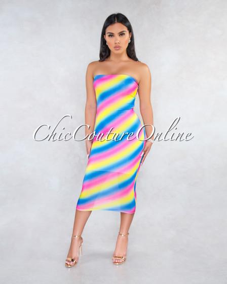 Springfield Rainbow Ombré Stripes Slip On Midi Dress
