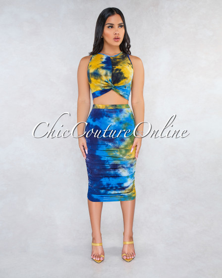 Lisseta Blue Yellow Tie-Dye Ruched Midi Skirt Two Piece Set