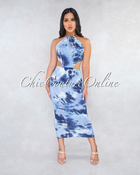 Sevina Navy Blue Tie-Dye Back Cut-Out Maxi Dress