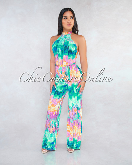 Sayla Green Pink Abstract Print Halter Jumpsuit