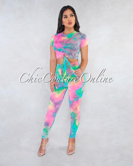 Sabrina Pastel Rainbow Front Tie Tye-Die Print Two Piece Set