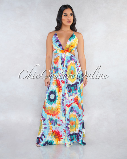 Sabianka Off-White Multi-Color Floral Print Cut-Out Maxi Dress