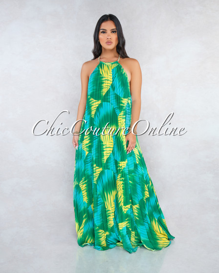 Sabella Green Leaf Pleated Halter Maxi Dress