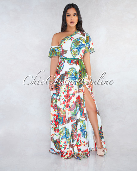 Royce Ivory Multi-Color Print  Single Shoulder Maxi Dress