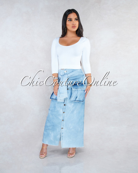 Rixxie Light Denim Faux Sleeves Front Tie Maxi Skirt