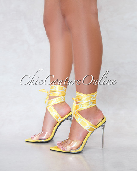 Harriet Yellow Clear Upper Lace Up Chain Print Straps Heels