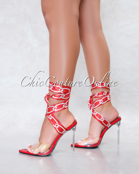 Harriet Red Clear Upper Lace Up Chain Print Straps Heels