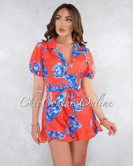 Zinnia Orange Blue Floral Print Puffy Sleeves Romper