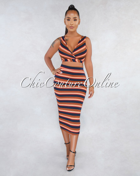 Waylon Navy Blue Orange Stripes Front Tie Top Two Piece Set