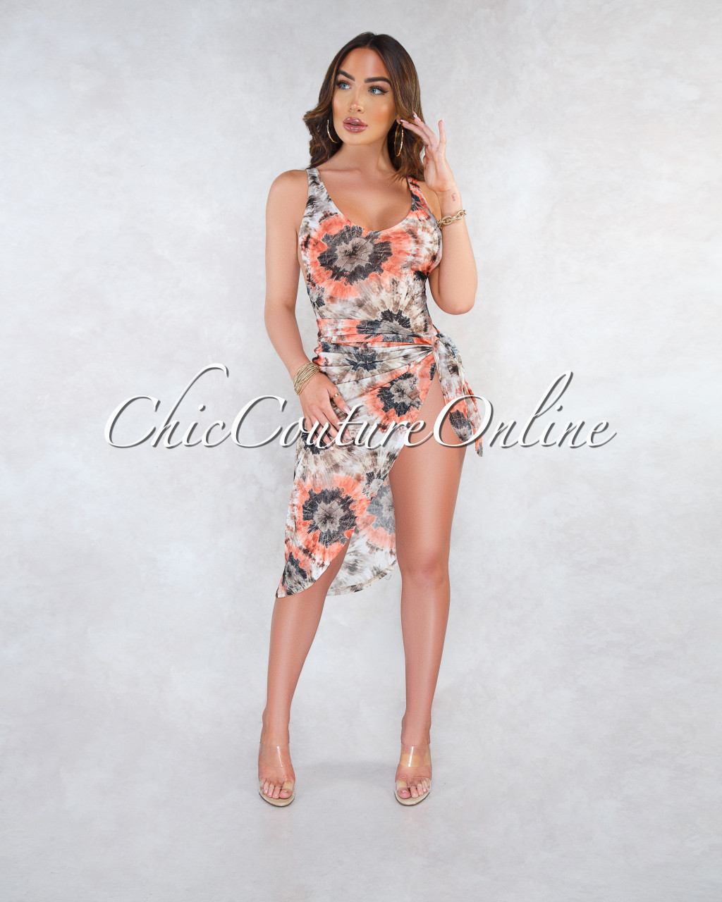 386ed72b3c Vivian Brown Orange Tie-Dye Mesh Skirt Cover Up Swimsuit Set
