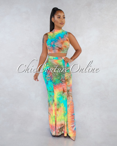 Ursula Bight Rainbow Tie-Dye Ruched Detail Skirt Two Piece Set