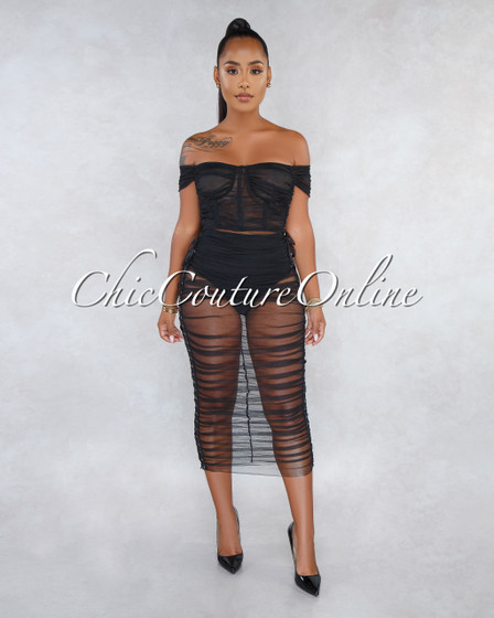 Tropicana Black Ruched Mesh Midi Dress