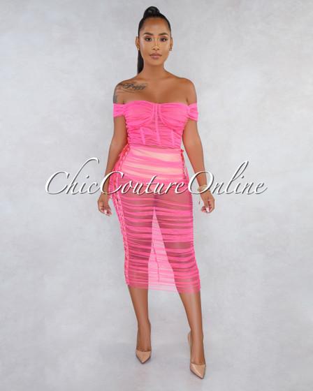 Tropicana Neon Pink Ruched Mesh Midi Dress