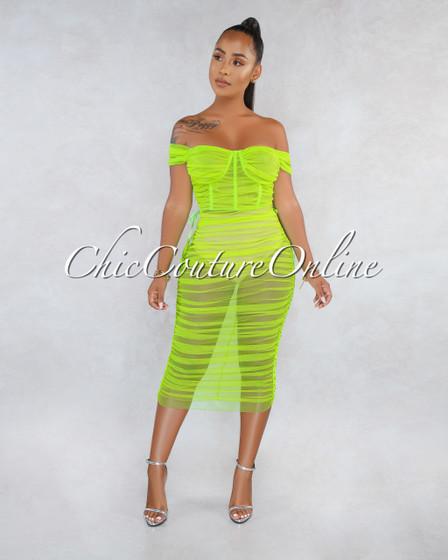 Tropicana Neon Green Ruched Mesh Midi Dress